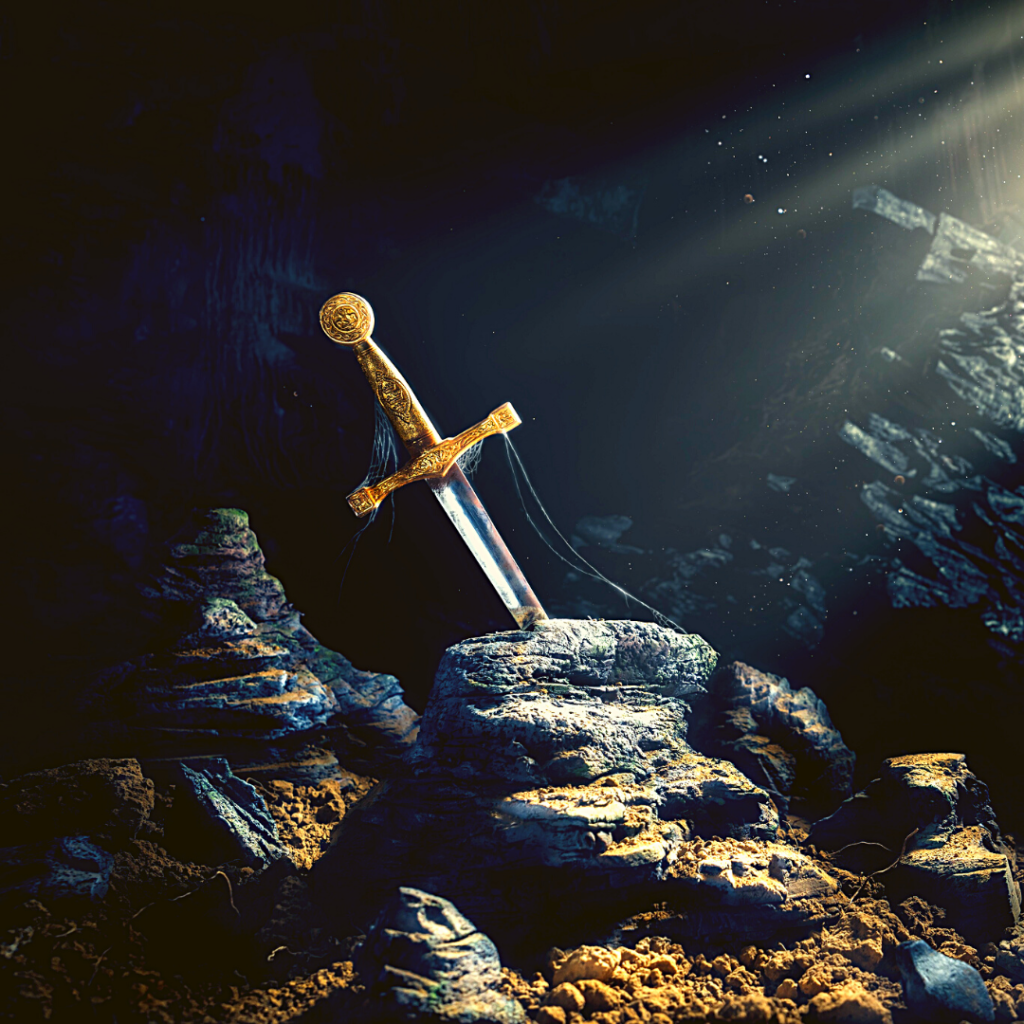 Sword with gold hilt in a stone
