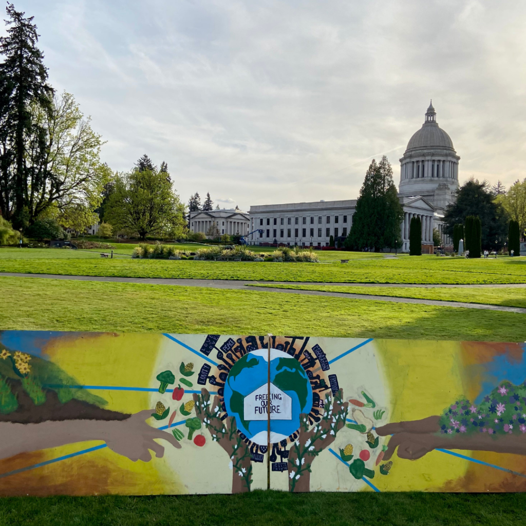 """Mural on grass in front of WA state capitol building. Mural is of arms reaching out to the Earth, which is surrounded by hands reaching out holding signs that say """"peace,"""" """"collective liberation"""" and """"equity."""" Arms have plants and land on them that are sending produce floating towards the Earth."""